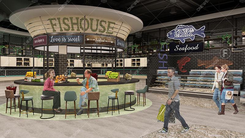 三本精品超市设计_万维商业空间设计