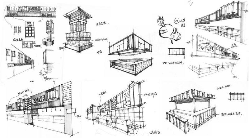 万维商业空间设计案例-仁禾市集手绘