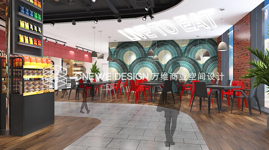 银川新华百货餐食区设计